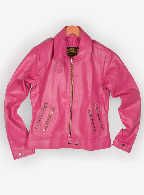 Bright Pink Leather Jacket # 219