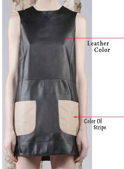 Contrast Patch Pocket Leather Dress - # 770