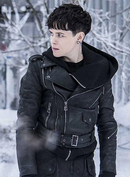 Claire Foy The Girl in the Spider's Web Leather Jacket - Click Image to Close
