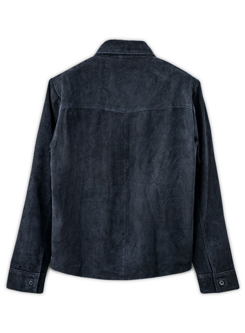 Dark Blue Suede Classic Leather Shirt - Click Image to Close