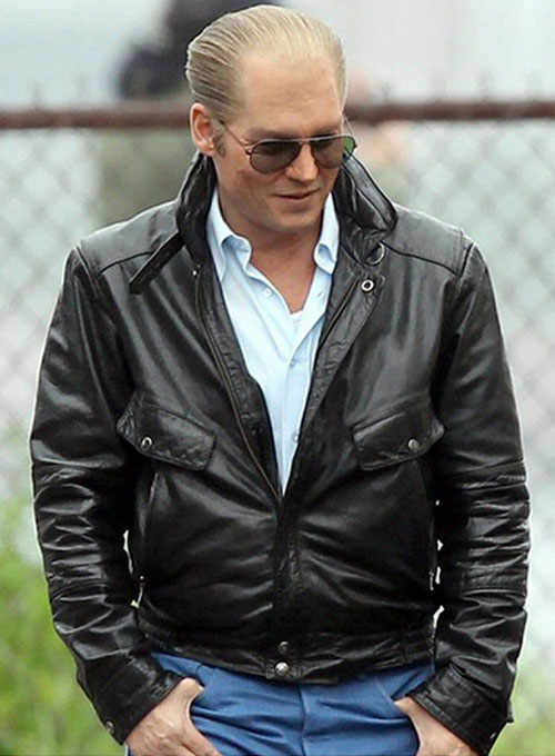 Johnny Depp Black Mass Leather Jacket - Click Image to Close