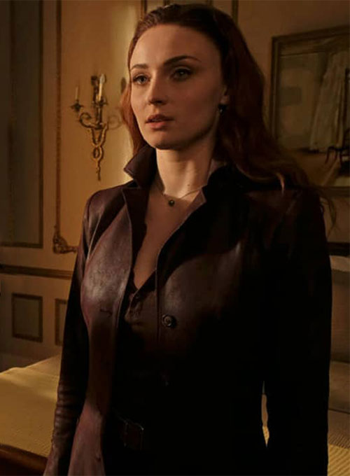 Sophie Turner Dark Phoenix Leather Long Coat - Click Image to Close