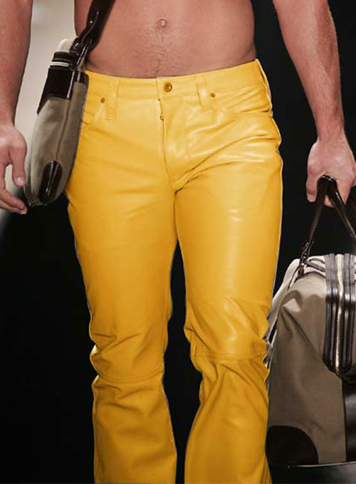 Yellow Leather Jeans