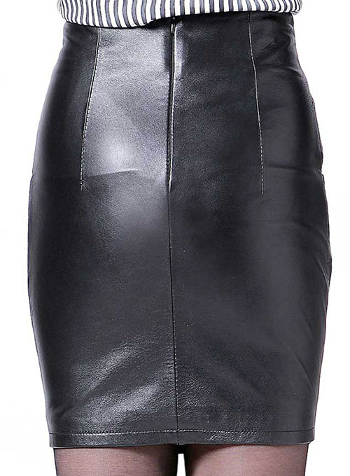 Bow Front Leather Skirt - # 412 - Click Image to Close