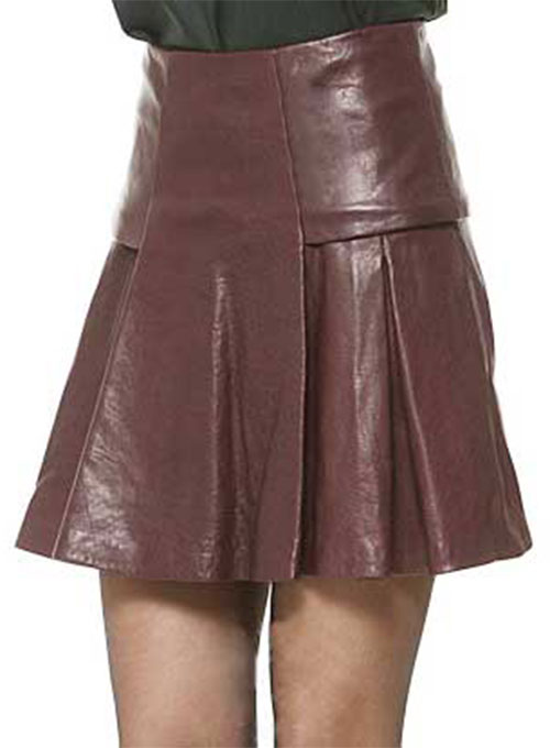 Box Pleat Leather Skirt - # 159