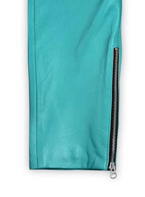 Bright Blue Electric Zipper Mono Leather Pants