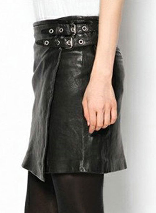 Buckled Wrap Leather Skirt - # 467