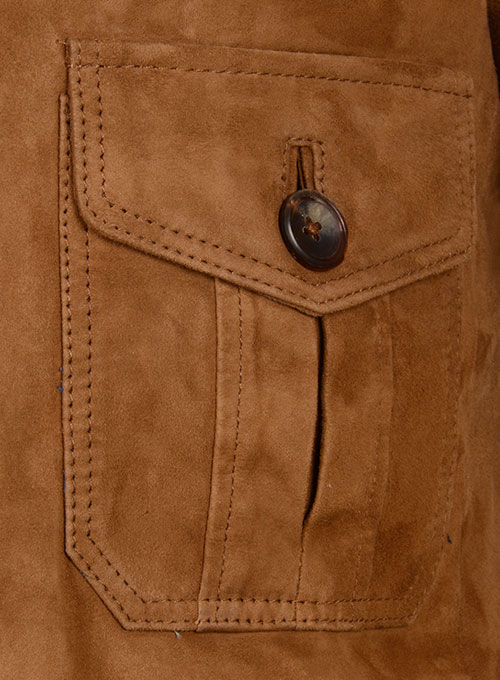 Soft Caramel Brown Suede Leather Blazer - #712 - Click Image to Close