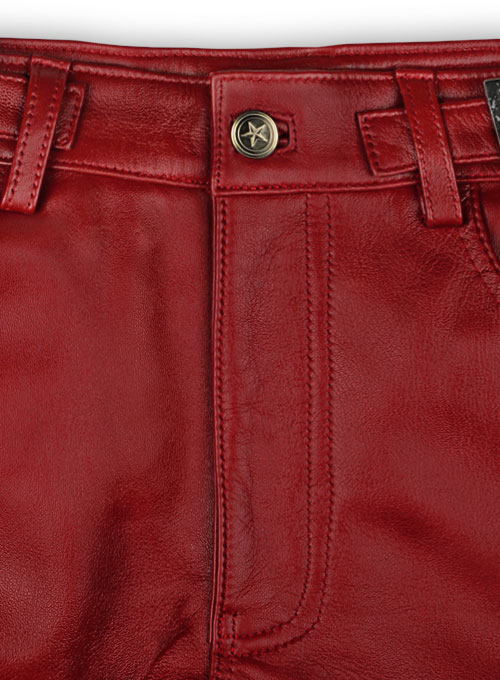 Cherry Red Electric Zipper Mono Leather Pants