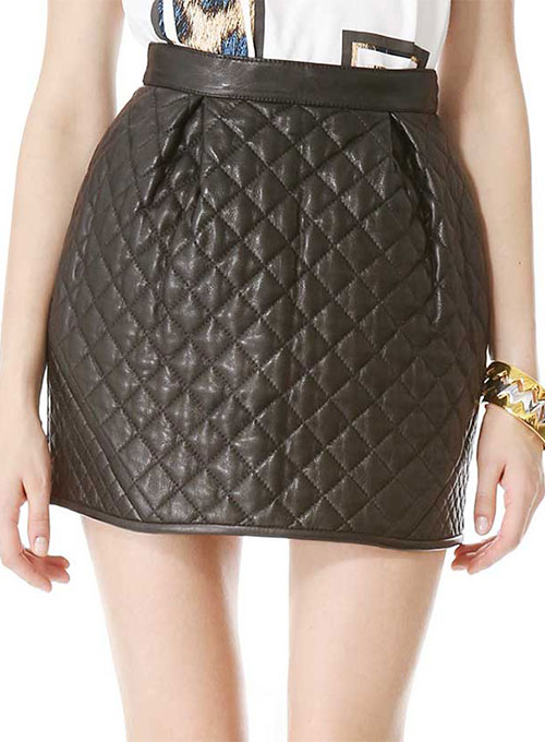 Ecru Quilted Leather Skirt - # 428  - 50 Colors