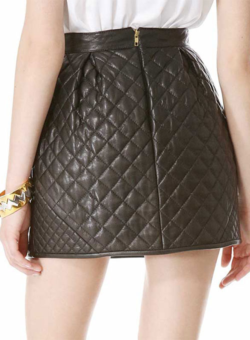 Ecru Quilted Leather Skirt - # 428