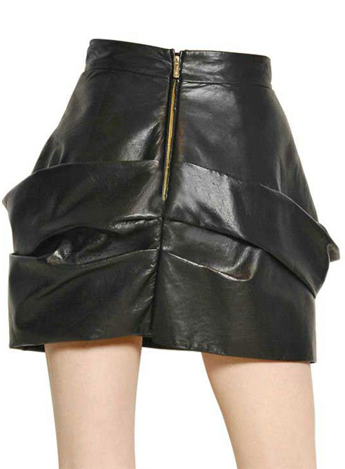 French Drape Flare Leather Skirt - # 438