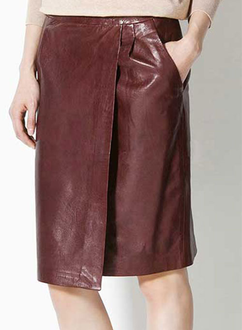 Front Panelled Leather Skirt - # 170