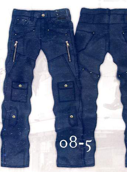 Leather Cargo Jeans - Style 08-5