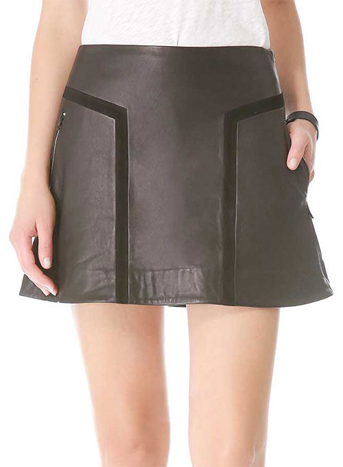 Geometric Contrast Leather Skirt - # 424