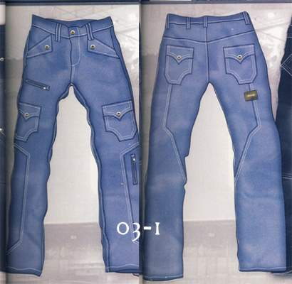 Leather Cargo Jeans - Style 03-1 - 50 Colors