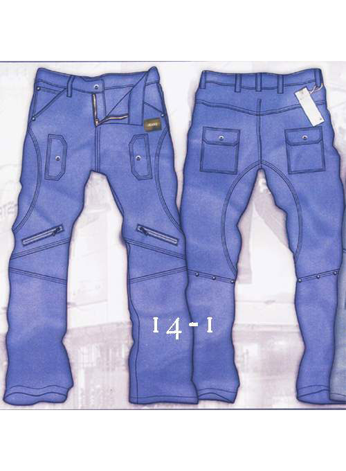 Leather Cargo Jeans - Style 14-1