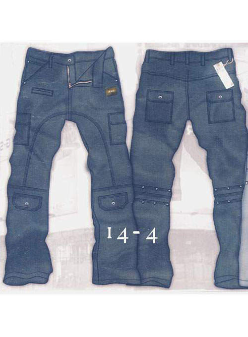 Leather Cargo Jeans - Style 14-4