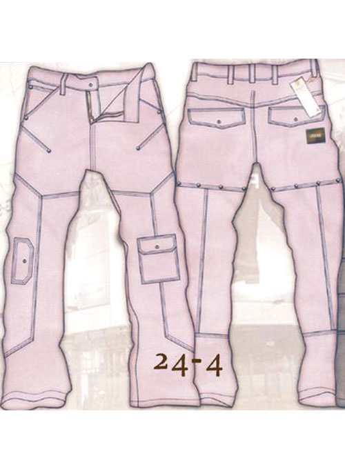 Leather Cargo Jeans - Style 24-4