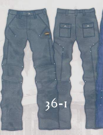 Leather Cargo Jeans - Style 36-1- 50 Colors