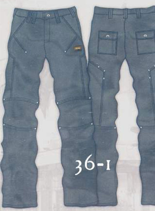 Leather Cargo Jeans - Style 36-1