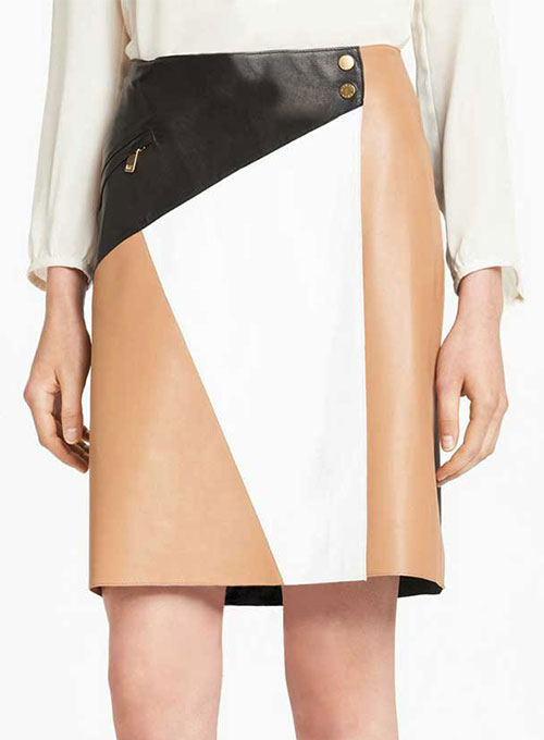 Patchwork Leather Skirt - # 458