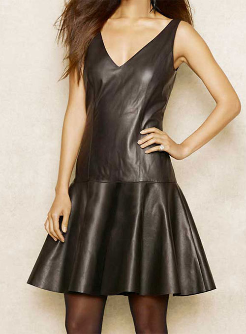 Plunge Leather Dress - # 769