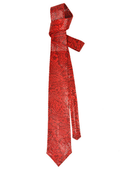 Shiny Red Python Leather Tie