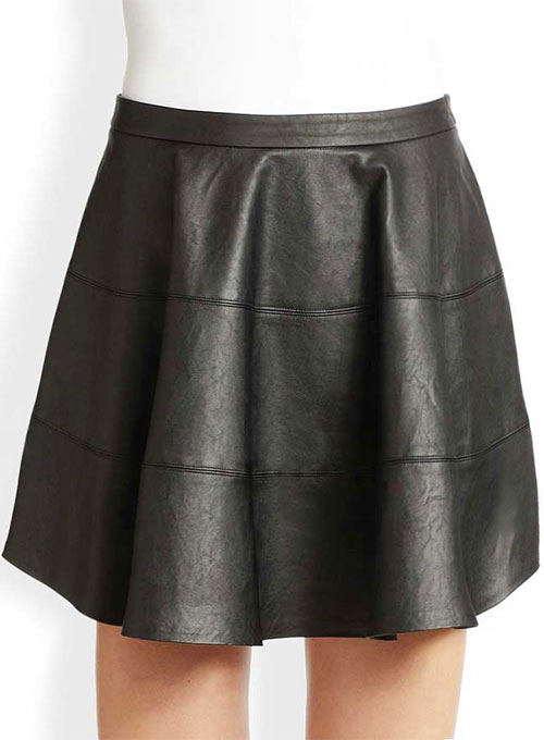 Sculpted Flare Leather Skirt - # 440