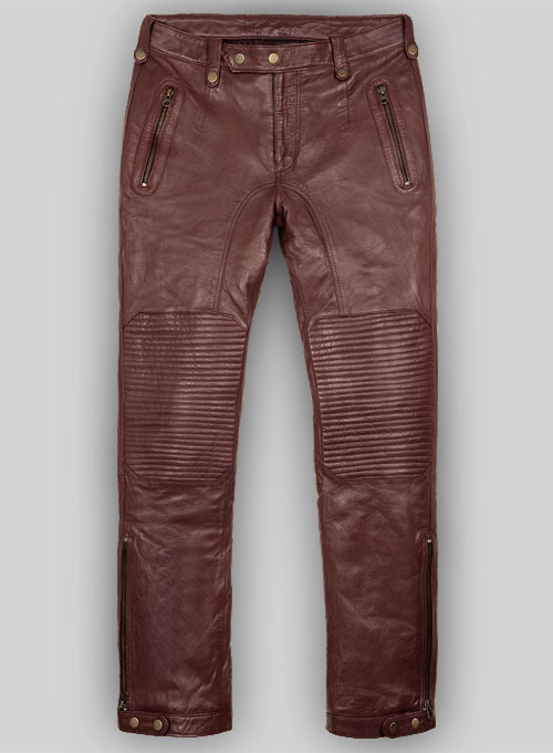 Soft Maroon Washed & Wax Belafonte Leather Pants