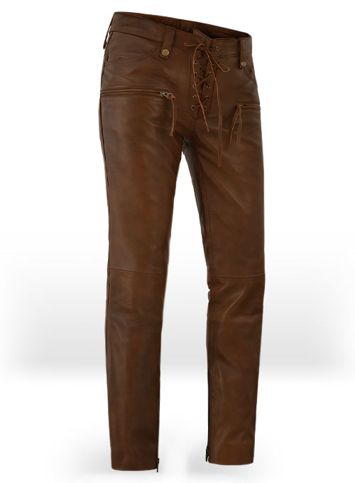 Spanish Brown Gigi Hadid Leather Pants - Click Image to Close