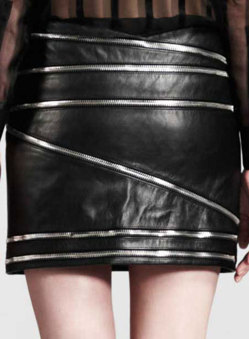 Zig Zag Zipper Leather Skirt - # 448
