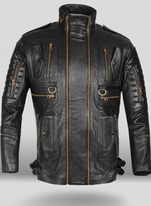Thick Black Leather Jacket # 641