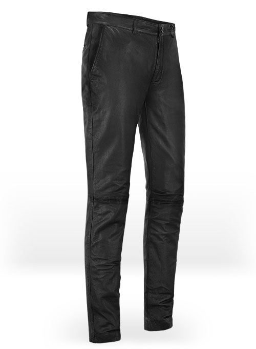 Soft Sherpa Gray Washed & Wax Leather Trousers