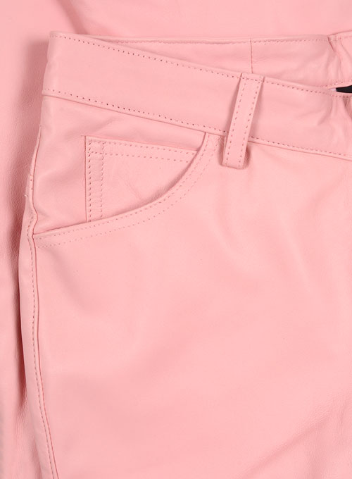 Light Pink Leather  Biker Jeans - Style #1