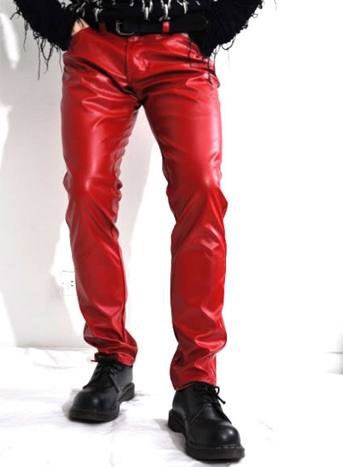 Red Leather Jeans