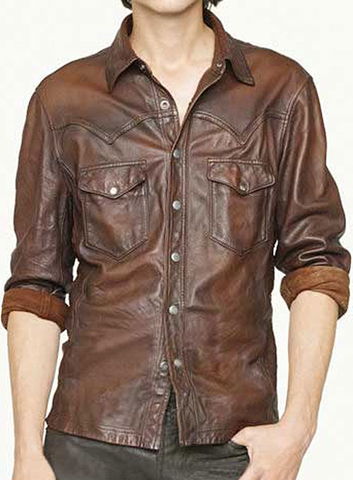 V tab leather shirt jacket leather for Leather jacket and shirt